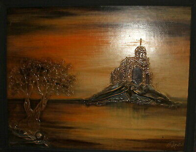 Surrealist oil/collage painting landscape lake monastery signed