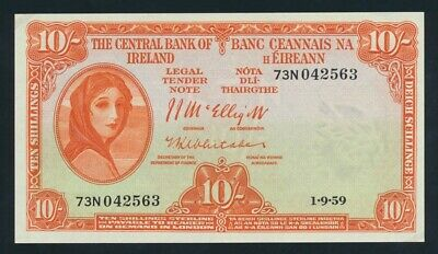 """Ireland: 1-9-1959 10 Shillings Lady Lavery """"LAST DATE FOR TYPE"""". Pick 56d UNC"""