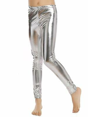 Kids Girls Shiny Stretch Dance Leggings Pant Metallic Party Stage Tight Costumes