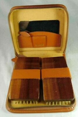 English Leather Case Grooming Set With Chrome Mirror