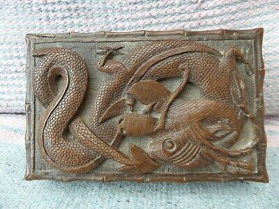 Antique/Vintage Chinese Carved Dragon  Wooden Box.
