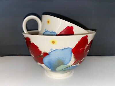 Poole Pottery Janice Tchalenko Poppy Design Large Cup And Bowl