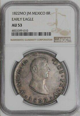 1822 MO JM Mexico 8 Reales Early Eagle AU53 NGC  939447-28