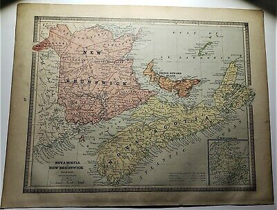 Original 1883 Color  Map Of Eastern Canada  From Crams  Atlas Of The World