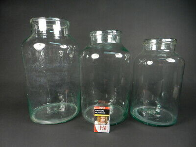 Lote 3 Tarros Vidrio Soplado 8, 10 Y 12 Litros Antique Glass Pot Jar