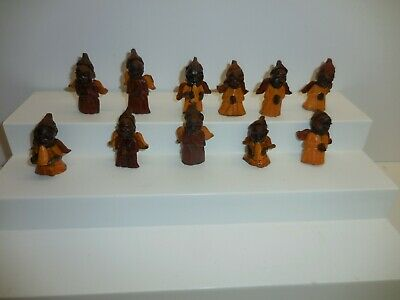 """11 Wooden Hand Carved African Angel 2"""" Figurine Ornaments"""