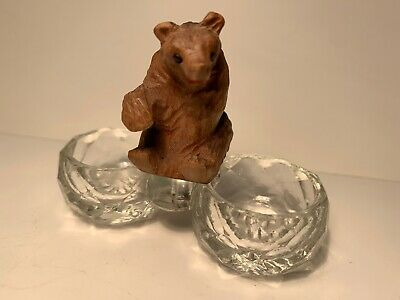 Antique or Vintage Carved Wood Bear Salt Dish With Black Forest Style Bear