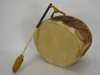 Henry H Montoya Native American Style Wood Rawhide Drum With Beating Stick
