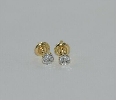 10K Yellow Gold with Cluster Diamond Threaded Back Earring