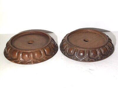 Pair Antique Chinese Carved Lotus Shaped Hard Wood Vase Stand 19/20th Century