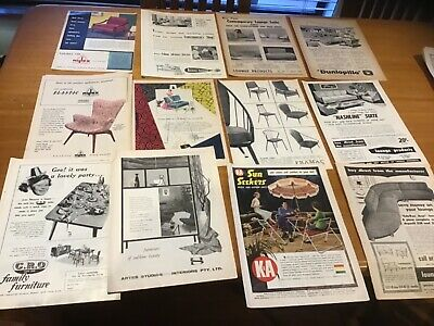Old 1950s furniture retro adverts anthony hordens vinyl lounge chairs x 12 ads