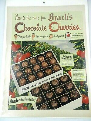 "VINTAGE BRACH'S CHOCOLATE PRINT AD CANDY EASTER CHERRY CREME 10"" x 13"""