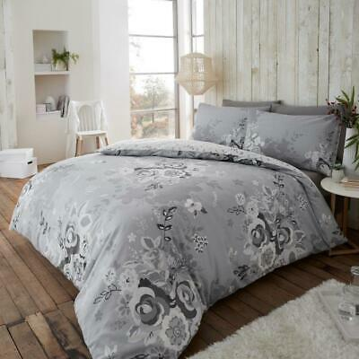 Printed Flannel Thermal Brush Cotton Duvet Set Floral Art Roses Pink Grey Plum