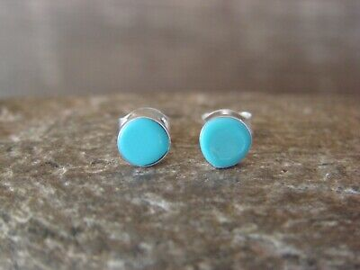 Zuni Sterling Silver Turquoise Inlay Post Earrings!  Qualo