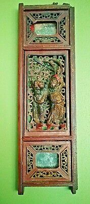 Antique Chinese Deeply Hand Carved  Wood Panel - Fragment -Two Worriers - Gilded