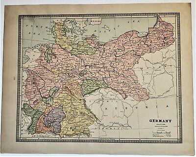 Original 1883 Color  Map Of Germany  From Crams  Atlas Of The World