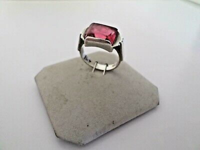 1920s - ART DECO BOHEMIAN Engraved Silver Large Ruby Ring size Q