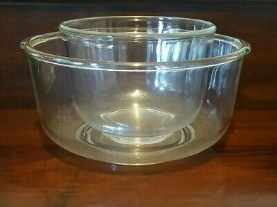 Vintage Large Small SUNBEAM Clear Glass Mixmaster Bowls for A12, A24 Models