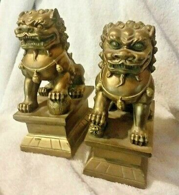 Guardian Foo Dog Pair of Chinese Lion Statue Figurine Feng Shui
