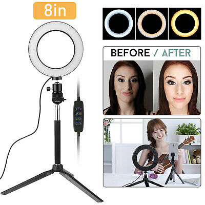 "8"" LED Ring Light Dimmable 5500K Lamp for Photography Camera Photo Studio Video"