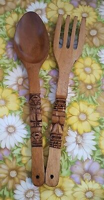 Vintage 1970's X Large Wooden Fork and Spoon Tiki Wall Hanging 57cm Retro