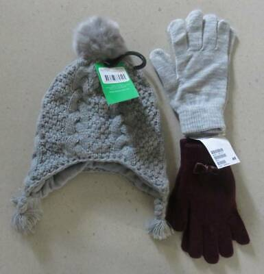 Girls Beanie/Hat Grey & 2 Gloves One Maroon & A Grey Coloured