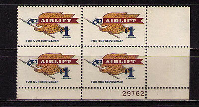 US USA Sc# 1341 MNH FVF Plate# Block Airlift Eagle Spear Pennant Servicemen
