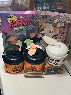 Vintage McDonald's Halloween Cardboard Counter Display With 3 Pails