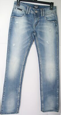 D&G Dolce & Gabbana Jeans Low Rise Tight Fit Straight Legs 27x29.5 Rips Size 27