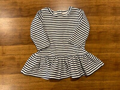 Seed Heritage Baby Girl Navy and White striped dress, size 3-6 months / 00
