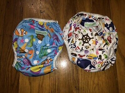 Wegreeco Reusable Baby Cloth Diaper SET OF 2 Snap Size Small Swimming