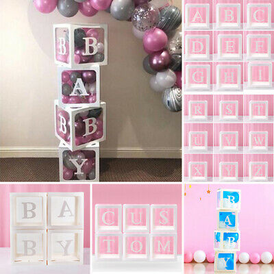 26 Letters Custom Cube Transparent Box Kid Gift Baby Shower Birthday Party Decor