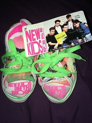 NWT New Kids On The block Slippers~ Vintage 80s Neon HIGHTOPS~ child small