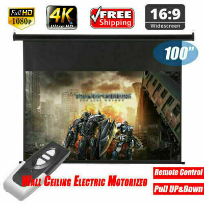 100'' Electric Motorized 3D 4K FHD Projector Screen W/Remote Home Cinama Theater