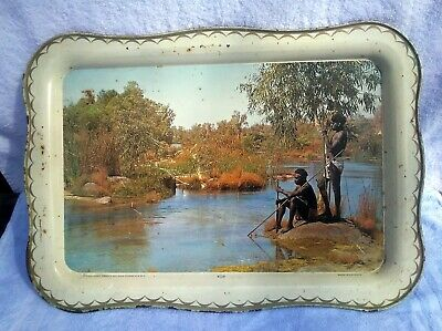 Vintage Willow Tin Dinner Serving Tray Aboriginals Hunting Broome WA c1950s
