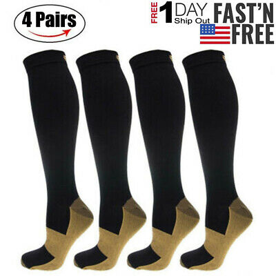 4 Pairs Copper Fitness Infused Anti-Fatigue Compression Socks Vein Stocking