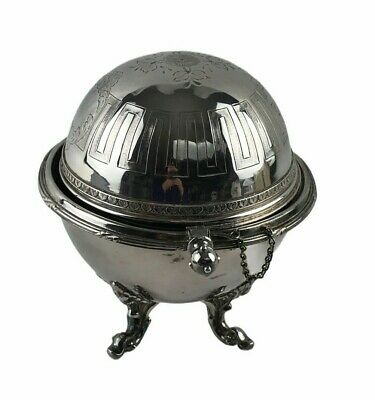 Antique Victorian Silver Rotating Dome Butter Dish Caviar Server Marked 87 Mono