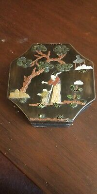 19/20th centry Chinese lacquered box with stone and shell decoration