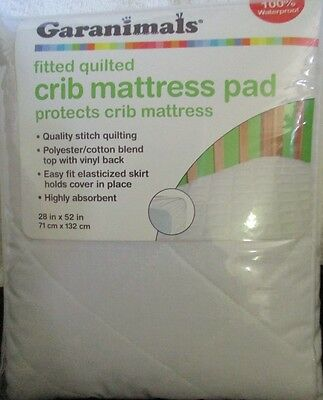 """Garanimals Crib Mattress Pad 28"""" X 52"""" Fitted Quilted Waterproof White Absorbent"""