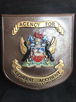 Heraldic Shield - General Accident Insurance Plaque- Old Sign.