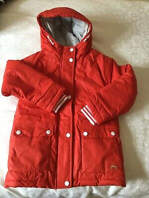 Girls Next Hood zip front padded coat, red aged 7. Elasticated red/white cuffs