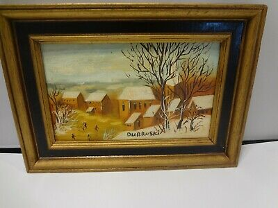 "Vintage Hand Painted Picture - wood framed and Signed -  Dubroski - 10.5"" x 7.5"""
