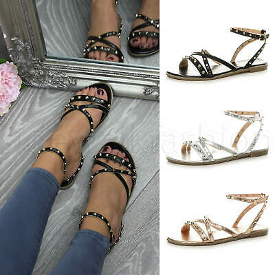 Womens ladies flat strappy studded punk rock ankle strap holiday sandals size