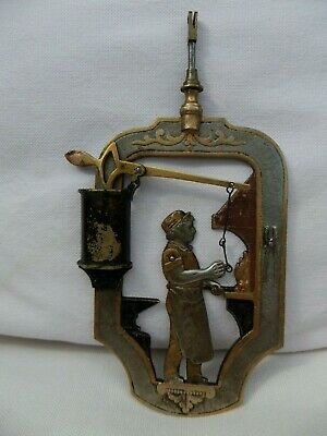 Rare and Unusual Continental Brass Automata Bob (Blacksmith) Clock Pendulum