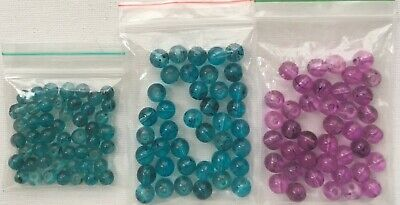 Oily Drizzle Round Glass Beads - *Choose From 2 Colours & 2 Sizes*