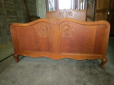 Vintage French carved light oak Louis XV double bed with base,UK King size.