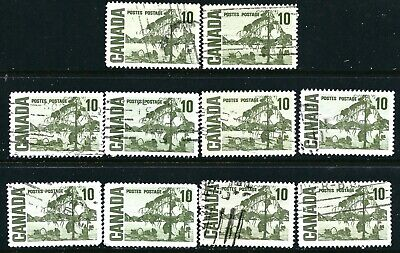 Canada #462(1) 1967 10 cent olive green JACK PINE by THOMSON DF 10 Used CV$2.00