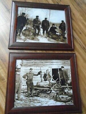 2 pc.set Brown & White Old Hunters Cabin Decor Picture Frame Wood Rustic Prints