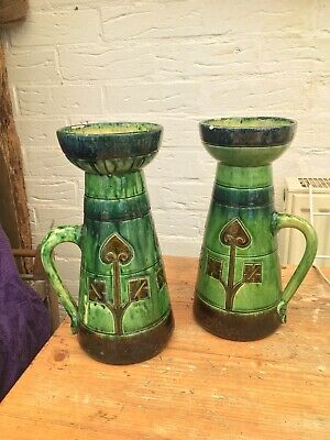 Arts & Crafts Mackintosh Majolica Pair Of Vases Pottery With Handles Large