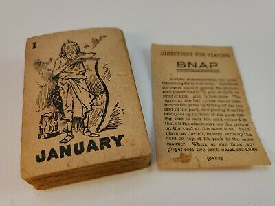 Vintage Drink Lion Coffee Advertising Snap Card Game with 48 cards & Instruction